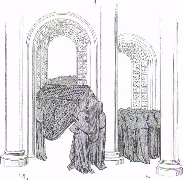 Tapisserie de Bayeux, la bière du roi Edward portée par huit hommes