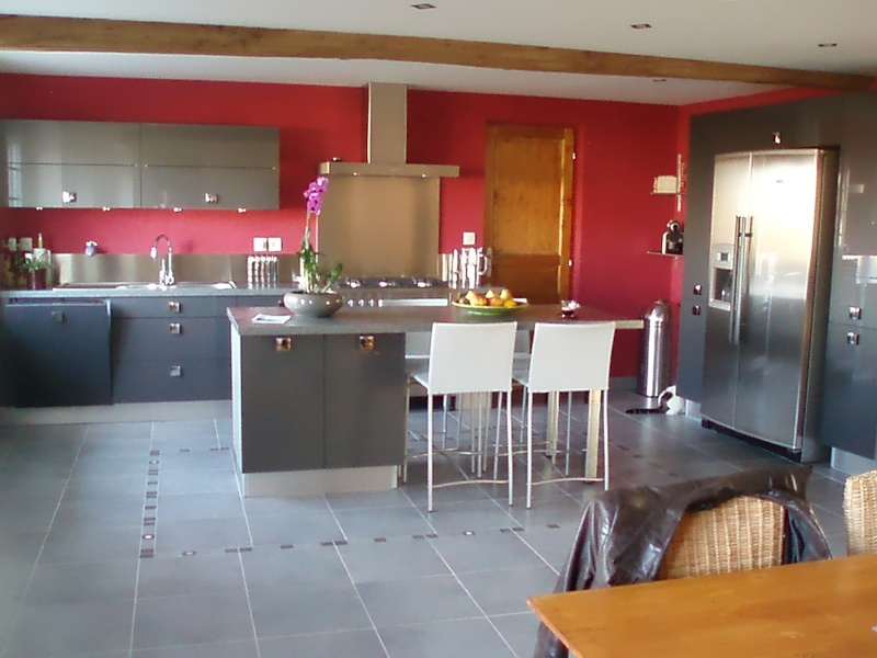 Cuisine ouverte sur salon et sejour couleur des murs for Salon sejour cuisine 60m2