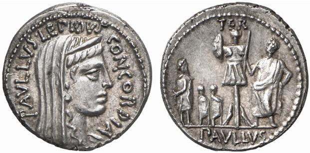 Denario de L. Aemilius Lepidus Paullus (Roma 62 a.C.)