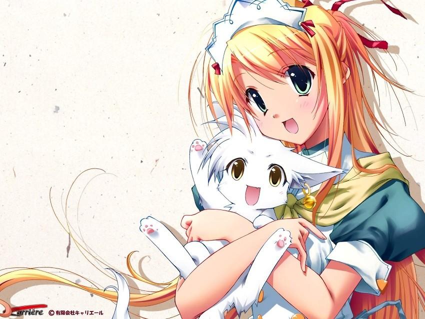 Une fille avec un chat